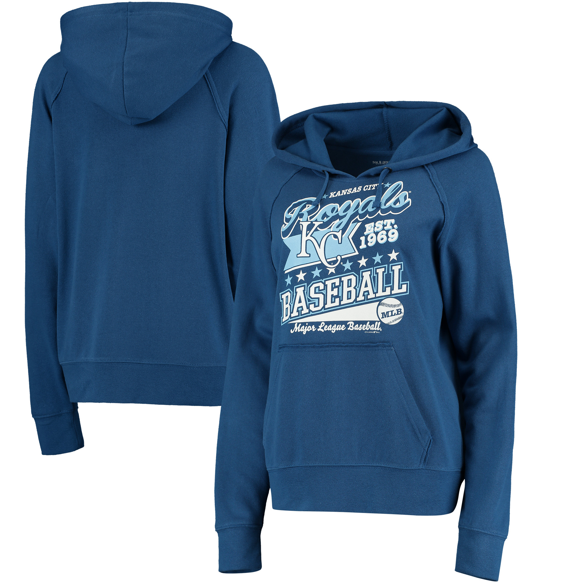 Kansas City Royals 5th & Ocean by New Era Women's Raw Edges & Pouch Raglan Pullover Hoodie - Royal