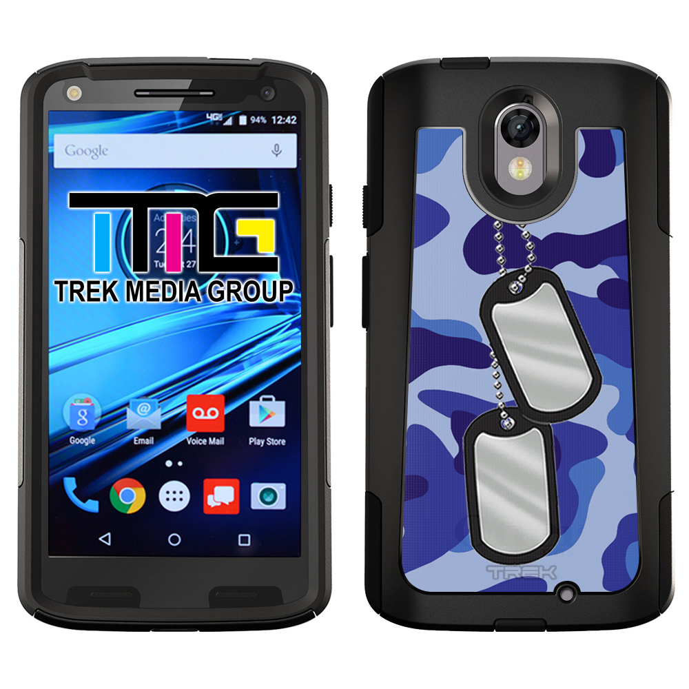 SKIN DECAL FOR OtterBox Commuter Motorola Droid Turbo 2 Case - Nameplate on Blue Camouflage DECAL, NOT A CASE