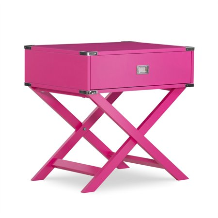 Linon Peggy X Base Wood Accent Table in Pink - image 4 de 11