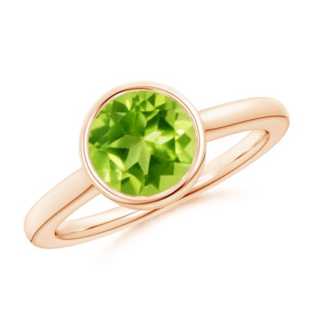 865 Rose (August Birthstone Ring - Bezel-Set Round Peridot Solitaire Engagement Ring in 14K Rose Gold (8mm Peridot) -)