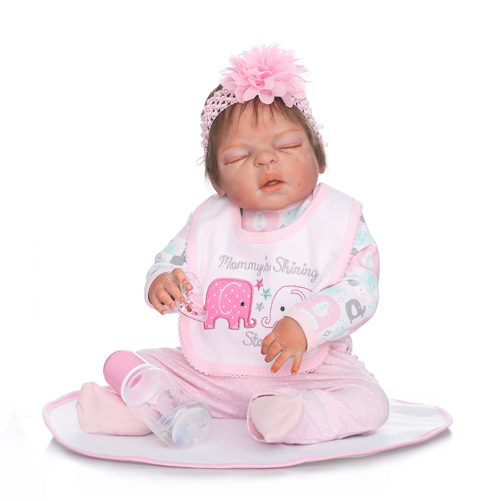 "22/"" Full Body Silicone Vinyl Reborn Doll Lifelike Anatomically Correct Baby Girl"