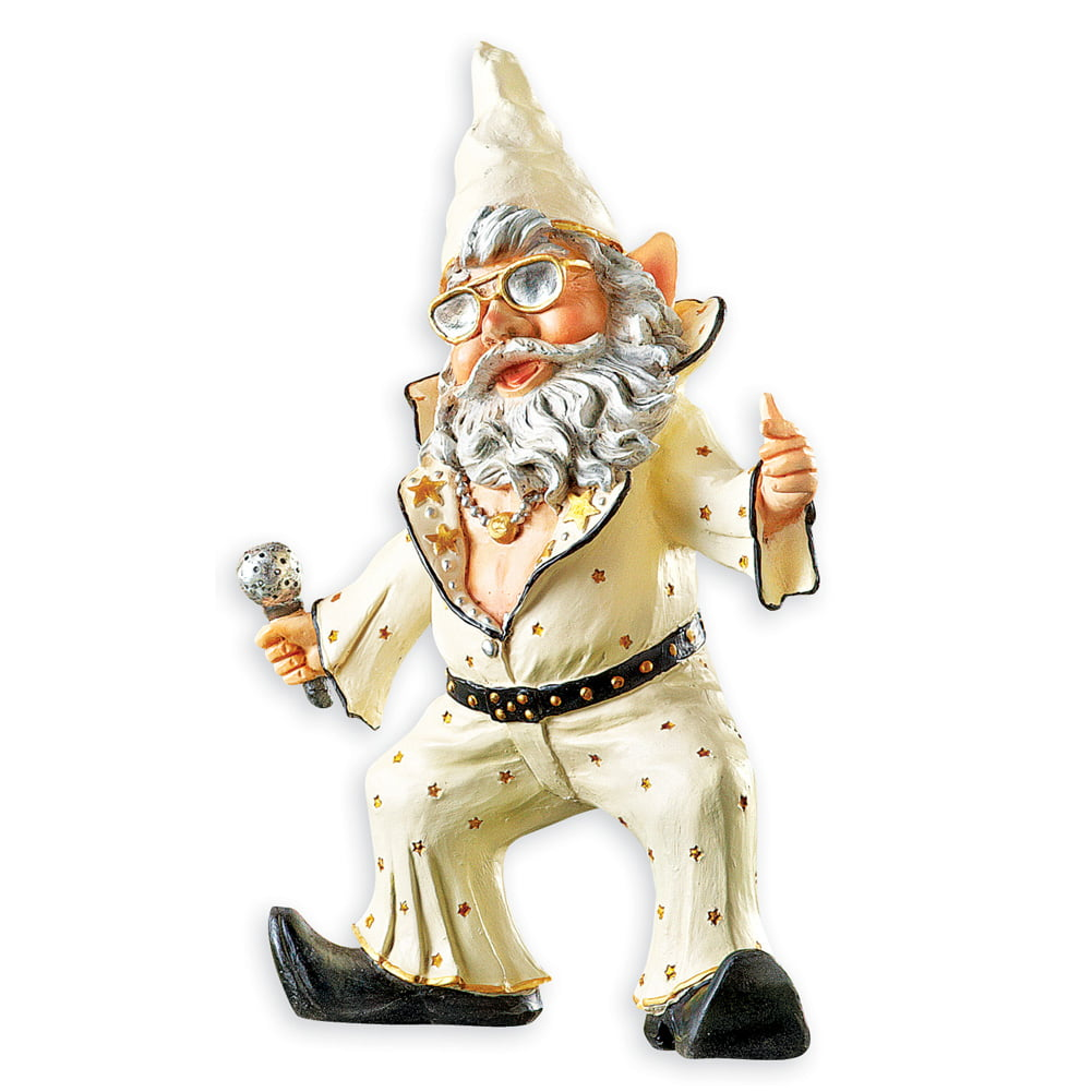 Party Gnomes Funny Outdoor Garden Statue Figurines, Singer by Collections Etc