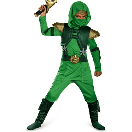 Kids Green Master Ninja Deluxe Martial Arts Warrior Halloween Costume - Male Warrior Costume
