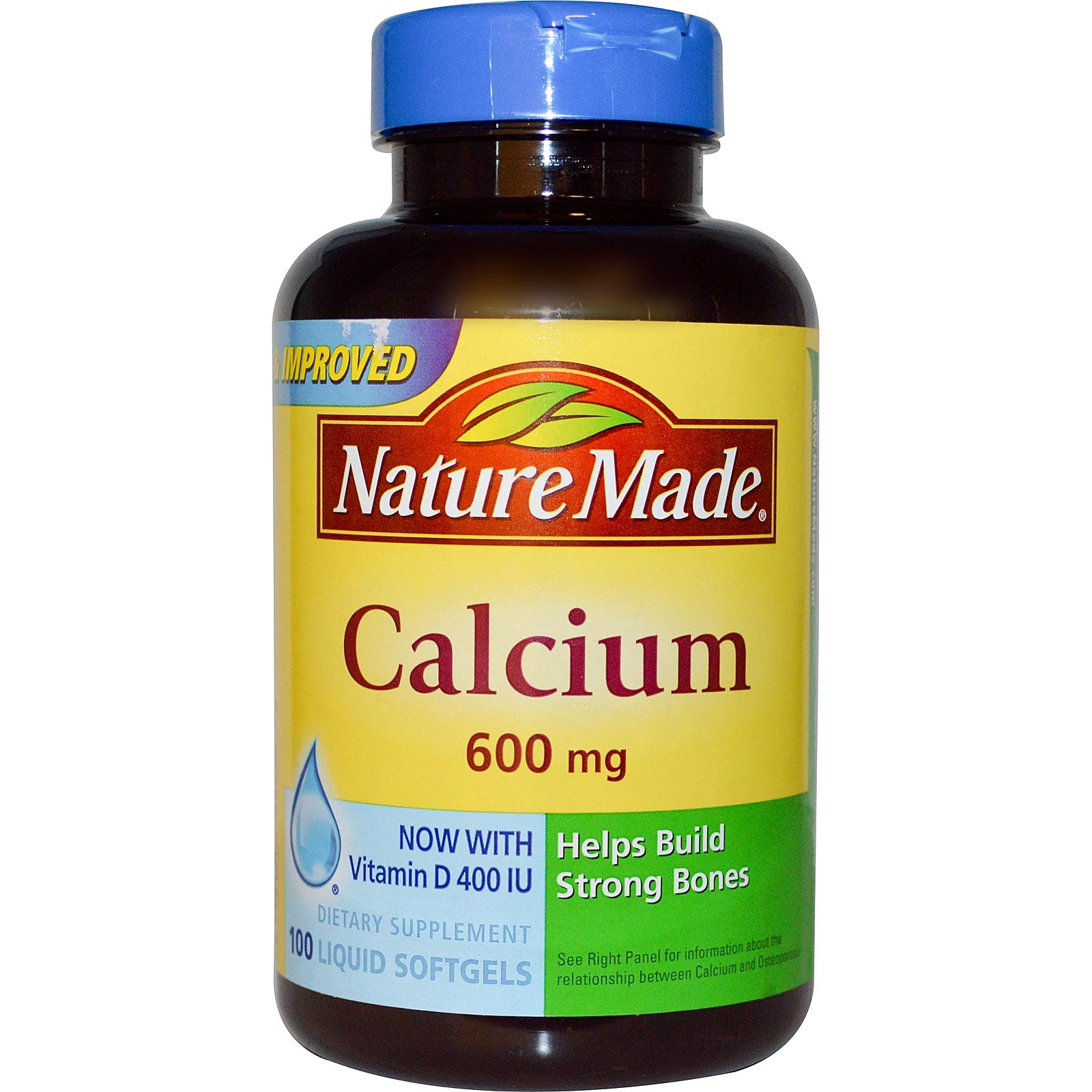 Nature Made, Calcium with Vitamin D 400 IU, 600 mg, 100 Liquid Softgels-2 Pack
