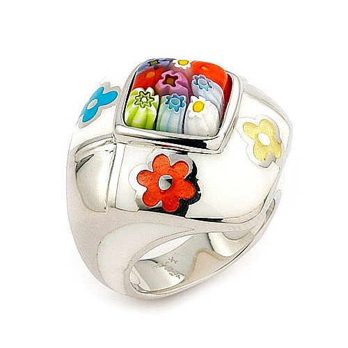 Plutus Partners Millacreli Sterling Silver Square Glass Ring