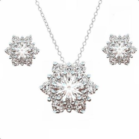 KABOER 3 Pcs/set Christmas Snowflake Pendant Necklace Earrings Set Ladies Elegant Xmas Jewel Gifts