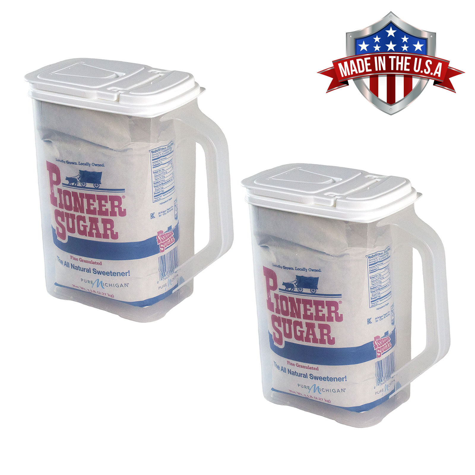 2 Pack of Food Storage Container 4 Quart Flour Sugar Keeper Pour n' Store with Handle