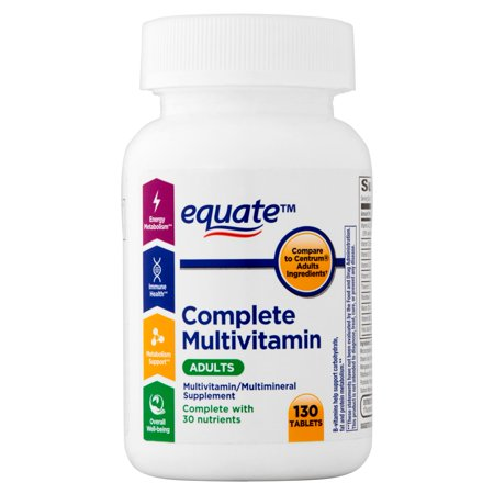 (2 Pack) Equate Complete Multivitamin Adults Tablets, 130 Ct Equate Complete Multivitamin Adult 50, Multivitamin/Multimineral Supplement, 130 count, can help supply your body with the tools it needs for healthy living. It is formulated to aid energy metabolism, immune health and overall well-being. B-vitamins help support carbohydrate, fat and protein metabolism. Each one contains over 30 key nutrients that are important for the body. Equate multivitamin under 50 can help you fill in nutritional gaps that may be missing.Equate Complete Multivitamin for Adults Under 50 Multivitamin/Multimineral Supplement, 130 count: