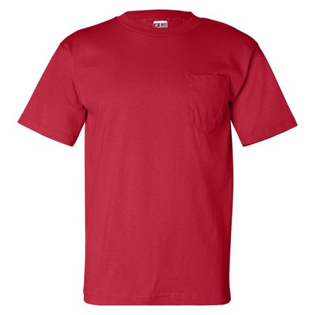 Bayside Mens Classic Style Heavyweight Pocket T-Shirt, Red, 4XL, Style, BA7100