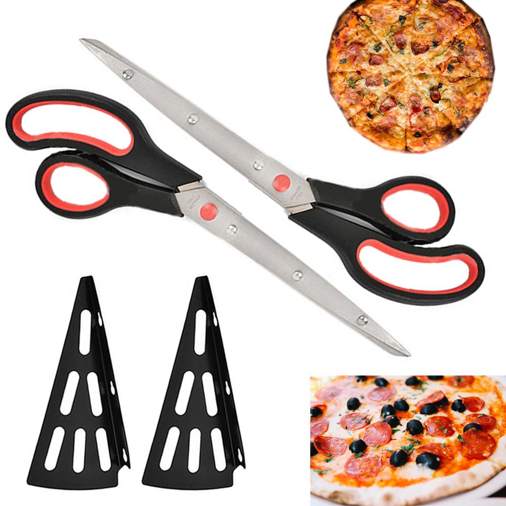 "2X Pizza Cutters Stainless Steel Scissors 11"" Slicer Sharp Blade Utensil Kitchen"