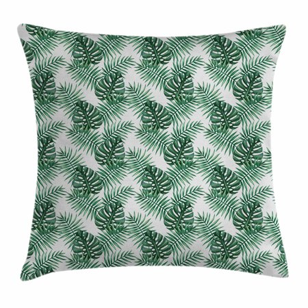 Leaf Throw Pillow Cushion Cover, Palm Mango Banana Tree Leaves in Tropical Wild Safari Island Jungle Image Artwork, Decorative Square Accent Pillow Case, 18 X 18 Inches, Forest Green, by - Palm Tree Leaf