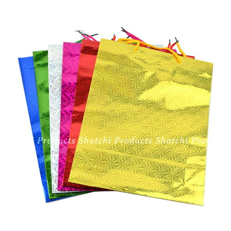 1 Assorted small Holographic Gift Bags for Christmas Present Xmas