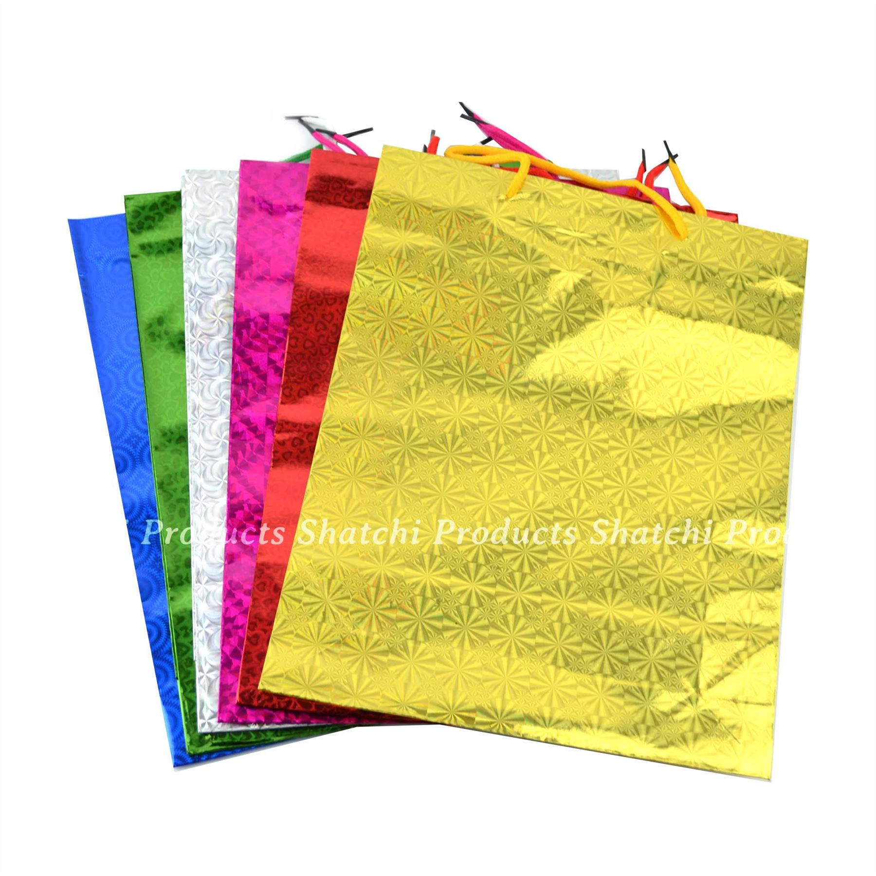 1 Assorted small Holographic Gift Bags for Christmas Present Xmas Party