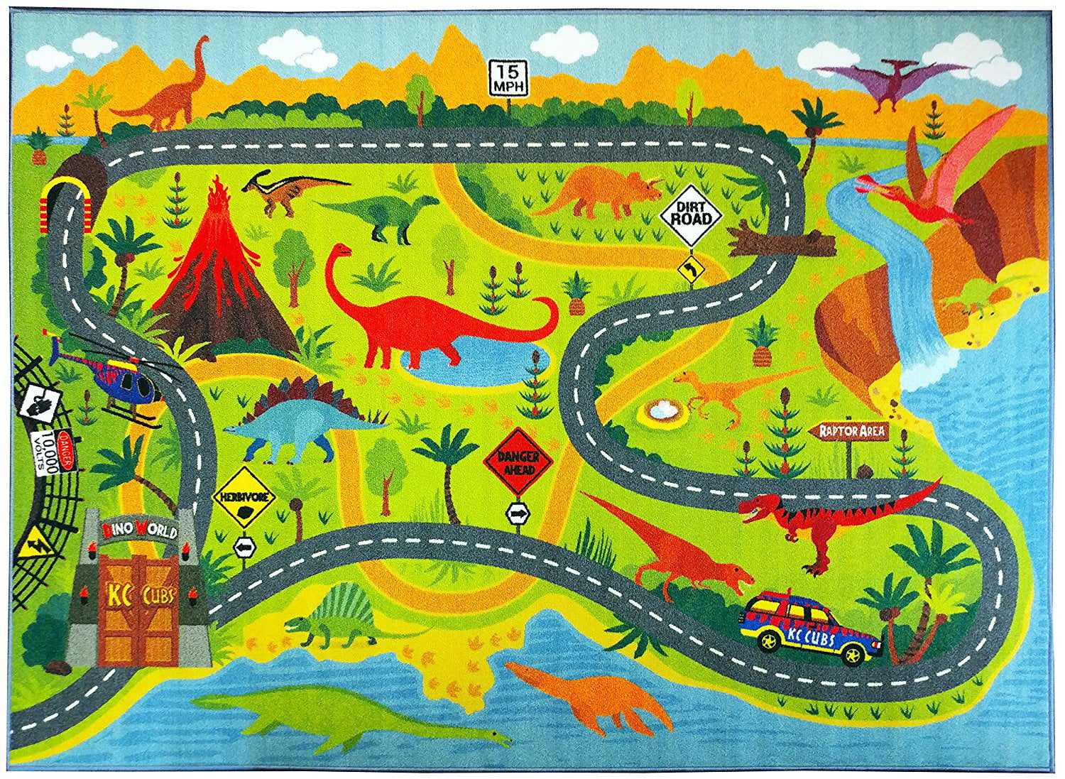 KC CUBS Playtime Collection Dinosaur Dino Safari Road Map Educational Learning Area Rug... by Kev and Cooper LLC