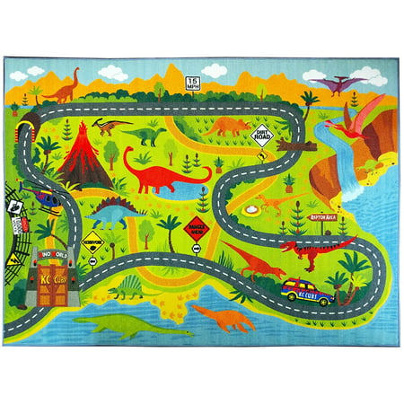 "KC CUBS Playtime Collection Dinosaur Dino Safari Road Map Educational Learning Area Rug Carpet for Kids and Children Bedrooms and Playroom (3'3"" x 4'7"")"