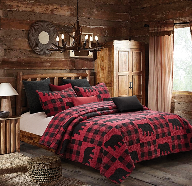 Red and Black Black Bear Plaid Patchwork Quilt and Sham Set Queen / Full