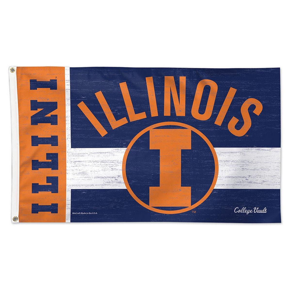 Illinois Fighting Illini Throwback Vintage 3' x 5' Pole Flag