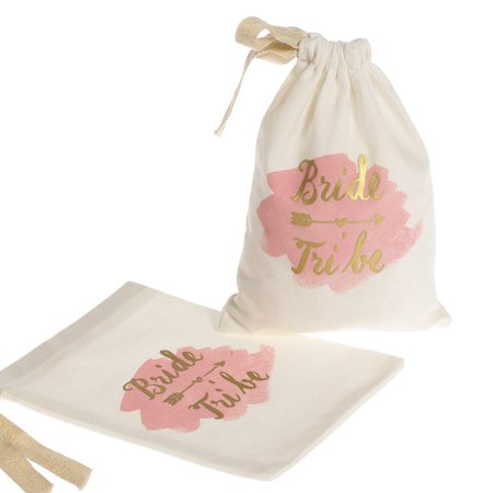 Bridesmaids Gift Bags (Lingâ??s Moment 10pcs 5â?x7â? Gold Foil Bride Tribe Bridesmaid Gift Bags w/Pink Watercolor - Cotton Muslin Drawstring Bags for Bridal Shower Bachelorette Hen's Party Hangover Kit Hangovers Bag #1)