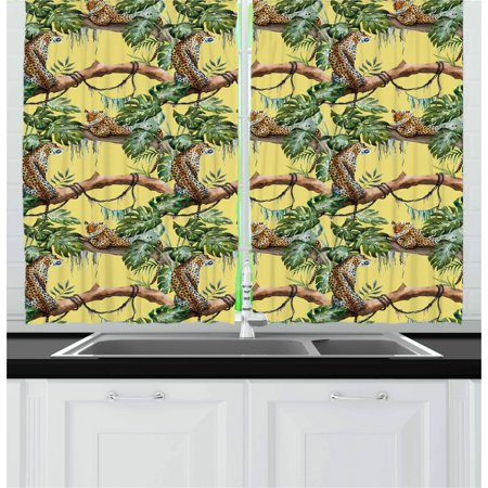 Watercolor Curtains 2 Panels Set, Leopards in the Jungle Tropical Scene Tree Branches and Leaves, Window Drapes for Living Room Bedroom, 55W X 39L Inches, Yellow Green Pale Yellow, by Ambesonne - Tropical Scenes