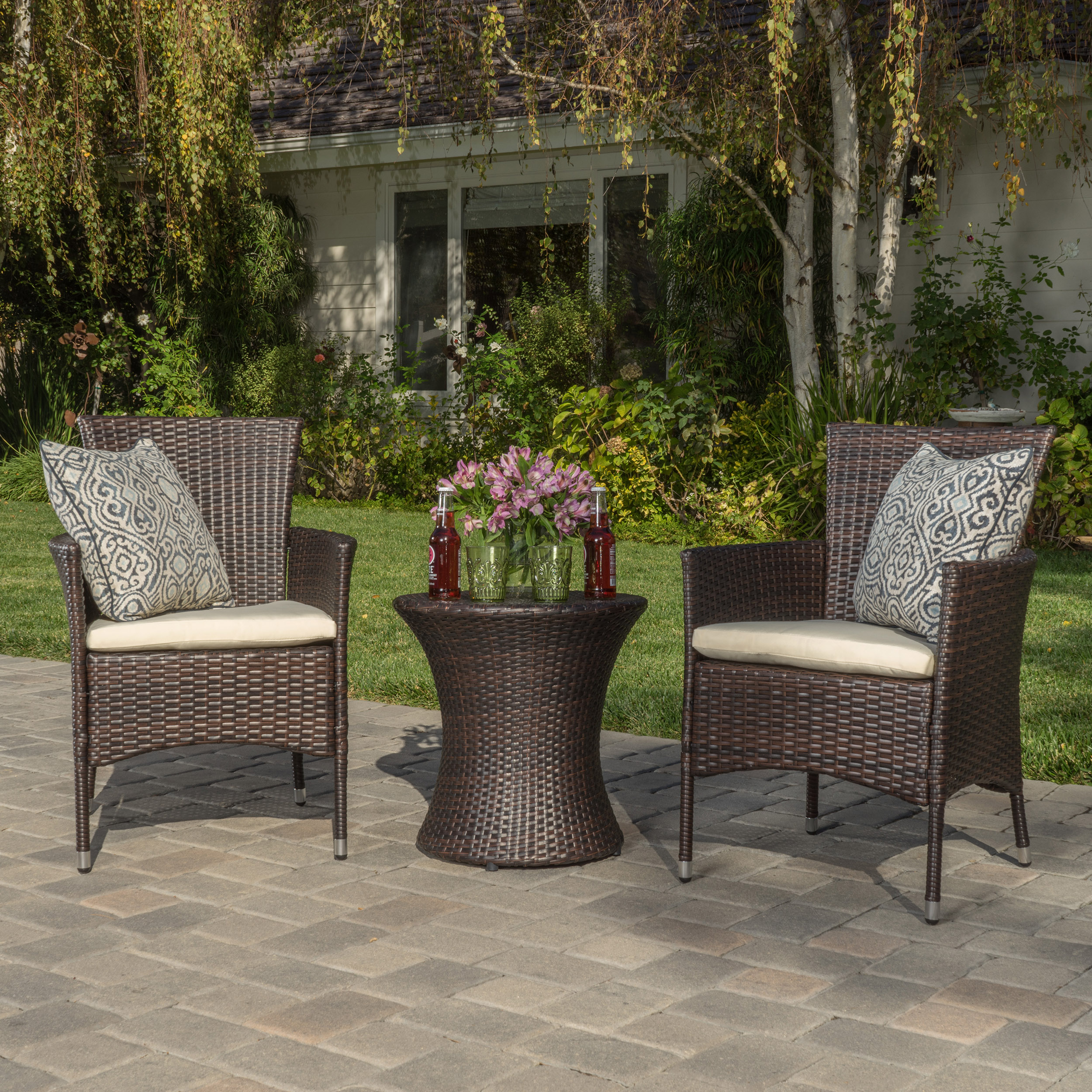 Palermo Outdoor Brown Wicker 3 Piece Chat Set With Cushions