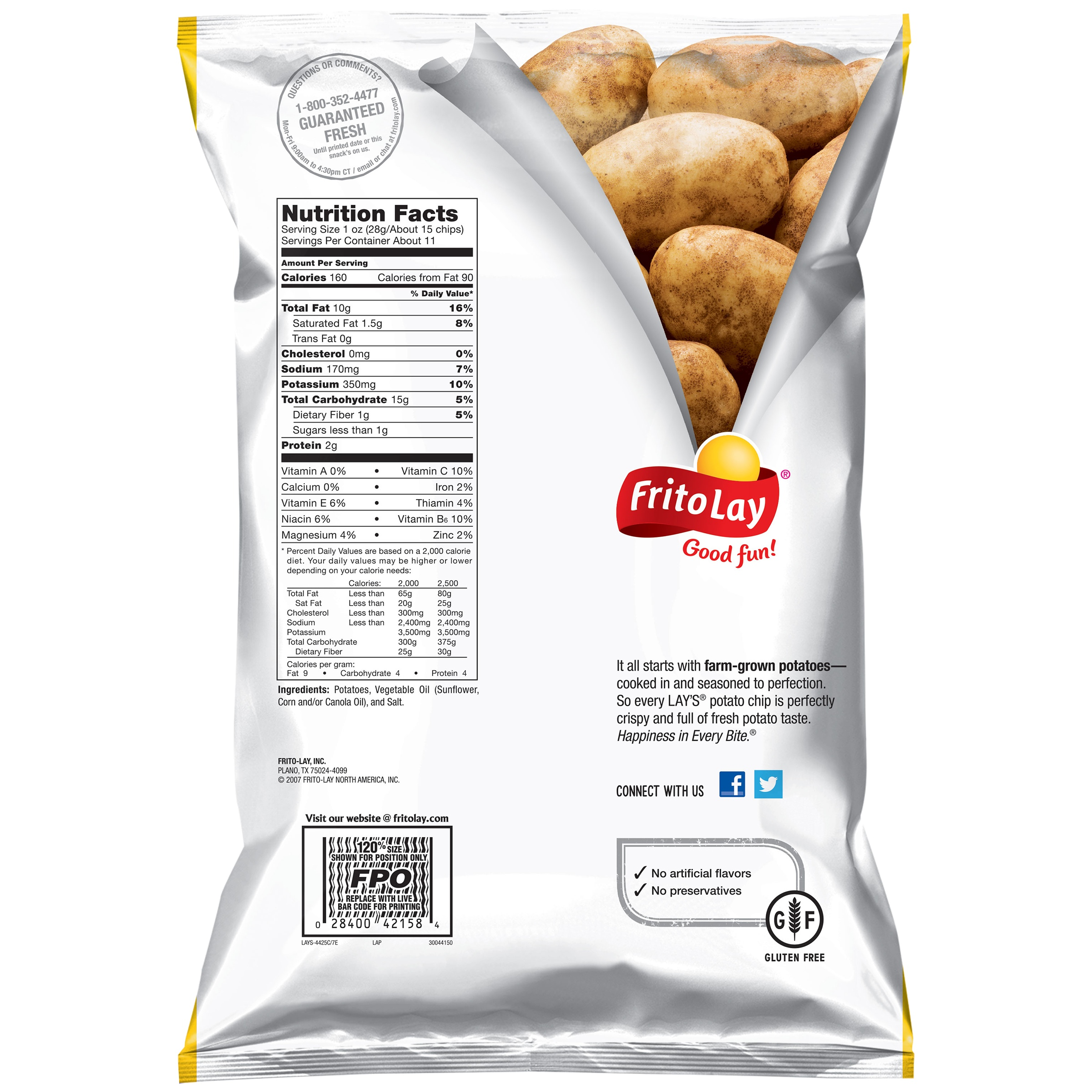 lay s lightly salted potato chips nutrition information