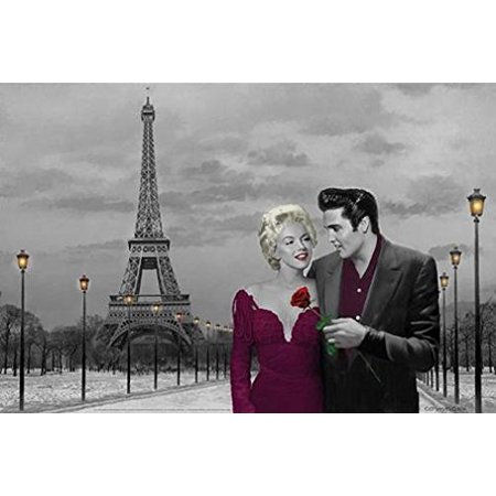 Paris France Tower - Paris France Eiffel Tower with Marilyn Monroe and Elvis Presley by Chris Consani 36x24 Art Print Poster   Celebrity Movie Stars Romance Red Dress and Red Rose Icons Hollywood