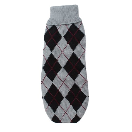 Adorable Argyle Printed Pet Puppy Dog Apparel Sweater Size XXS Black Gray