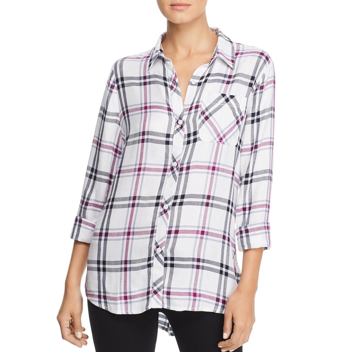 Beach Lunch Lounge Womens Charley Hi-Low Rayon Button-Down Top