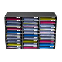 Adiroffice 30 Compartment Classroom Paper Organizer Literature Sorter, Black