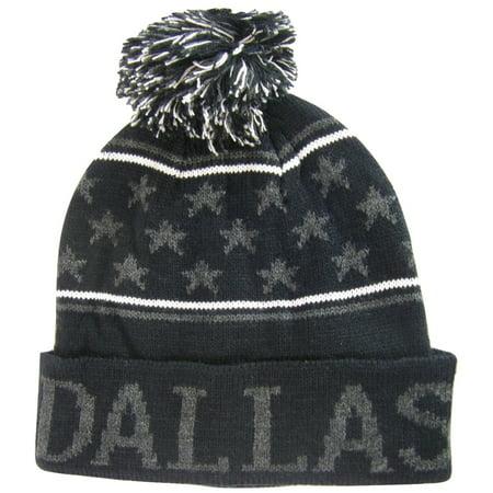 Dallas Adult Size Small Stars Winter Knit Pom Beanie Hats (Black/Dark Gray) (Winter Themed Prom)