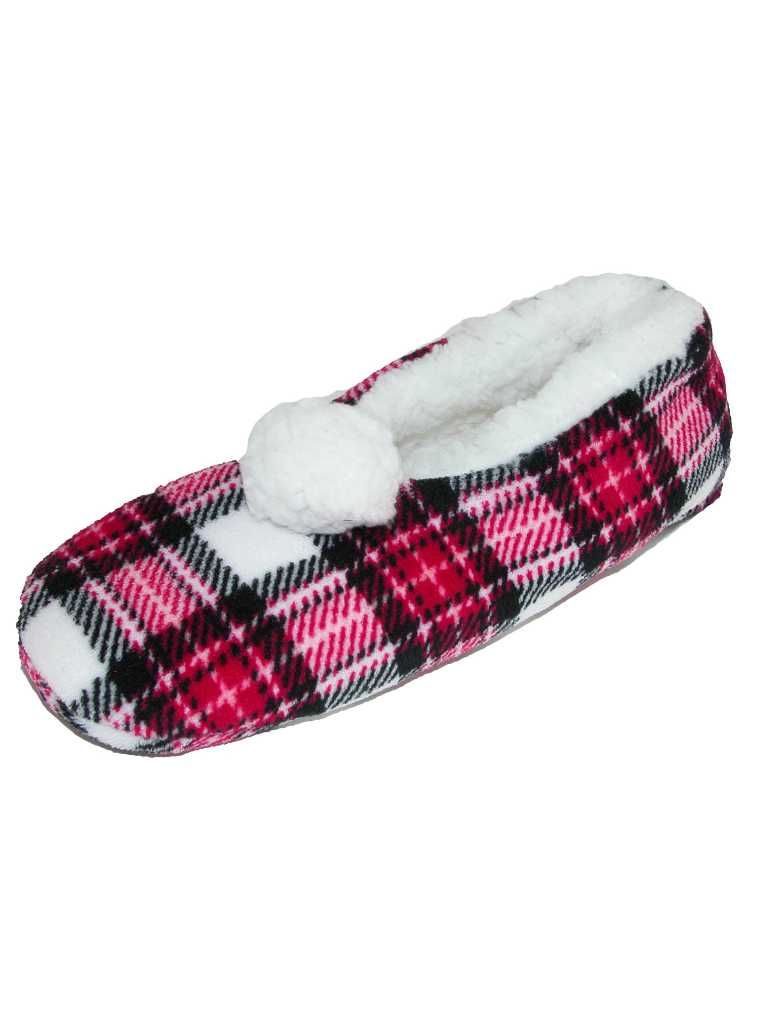 Alotta Knits Women's Plaid Printed Slippers with Pom Pom & Sherpa Fleece Lining