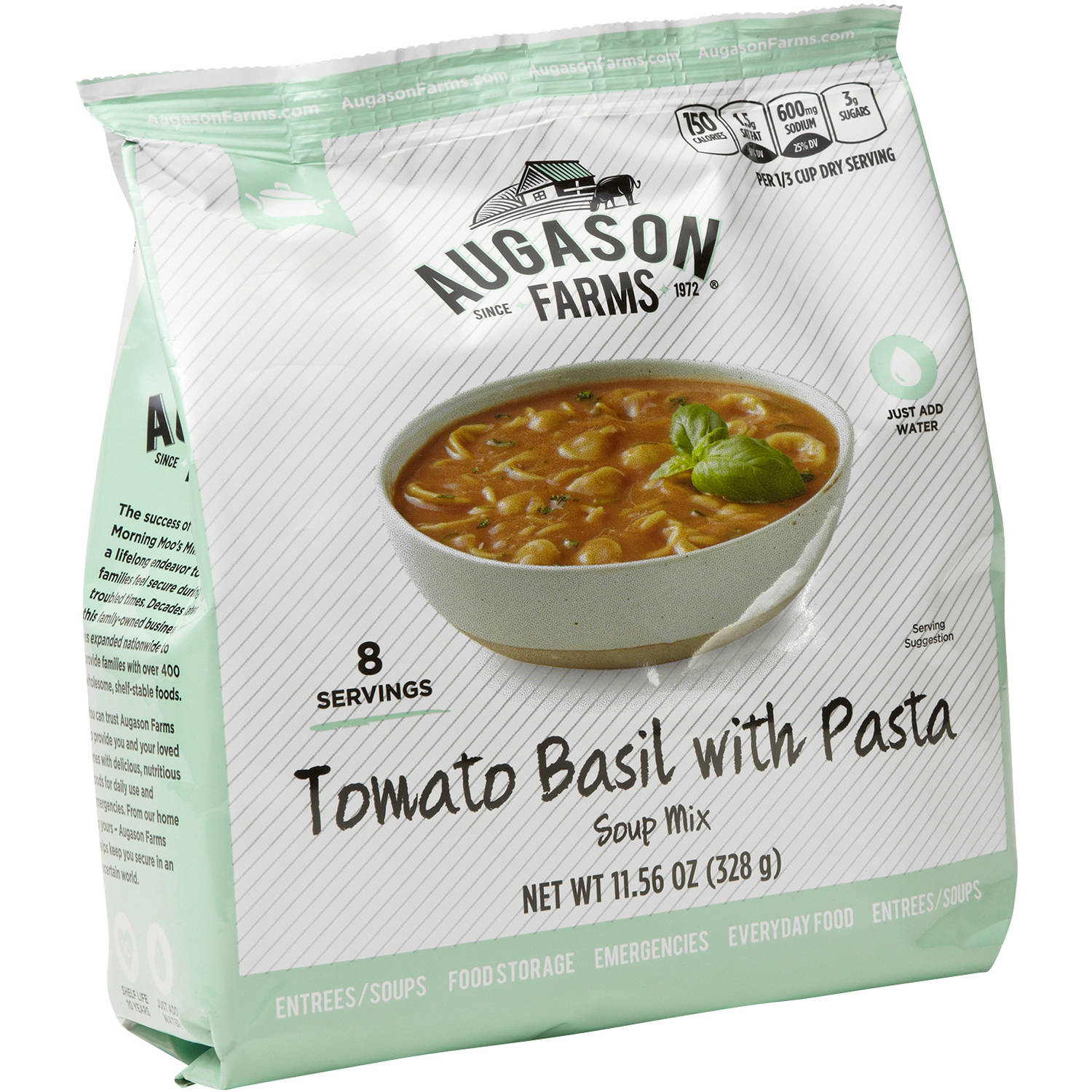 Augason Farms Tomato Basil with Pasta Soup Mix, 11.56 oz