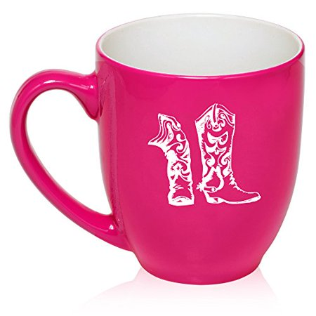 16 oz Large Bistro Mug Ceramic Coffee Tea Glass Cup Cowboy Cowgirl Boots (Hot Pink) - Cowboy Boot Glass Mug