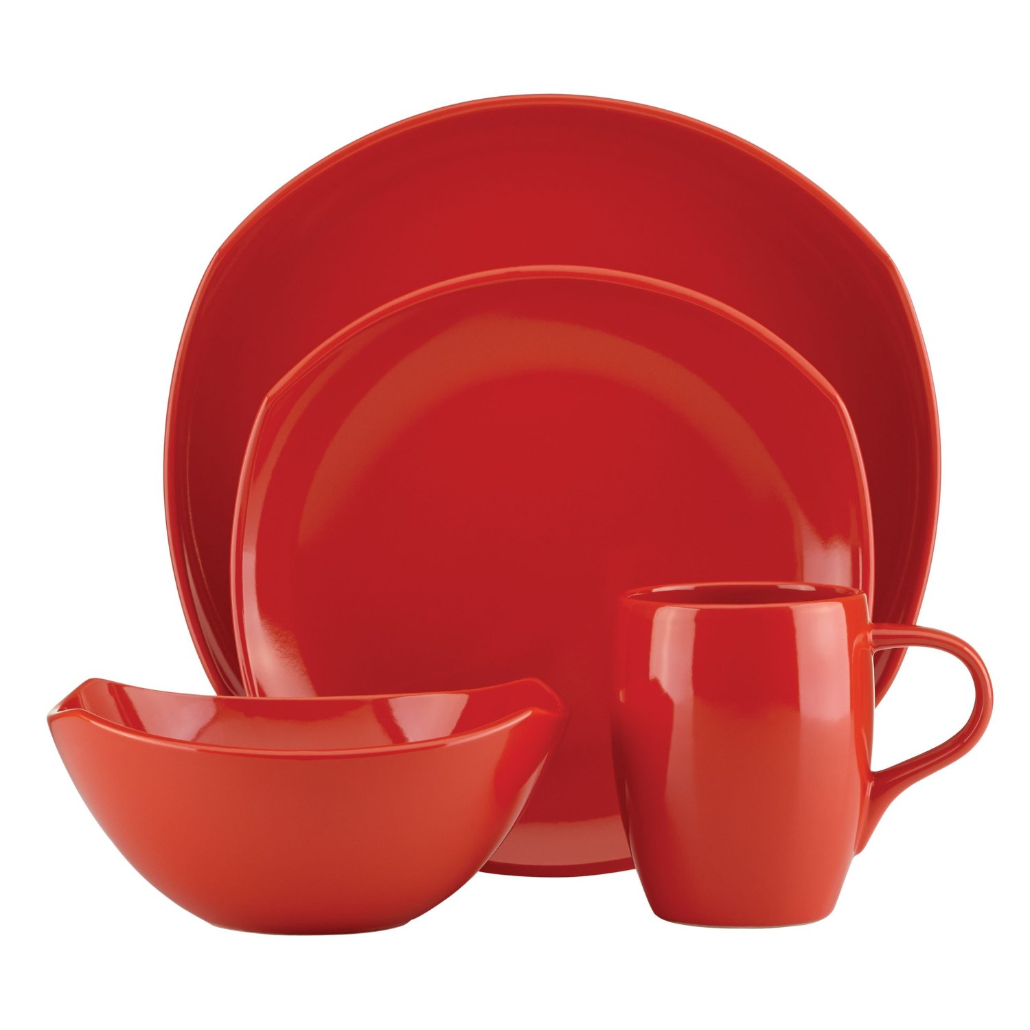 Dansk Unisex Classic Fjord Chili Red 4 Piece Set Red Dinnerware