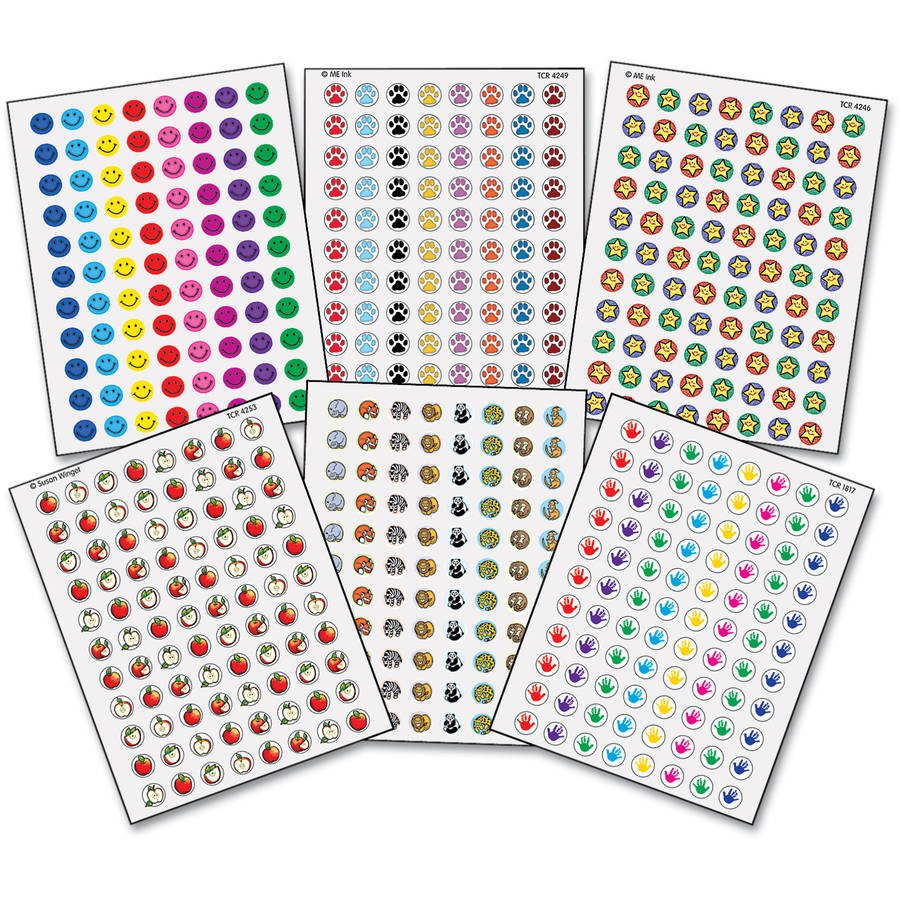 Teacher Created Resources Mini Stickers Variety Pack, 6 Assorted Designs/Colors, 3,168pk