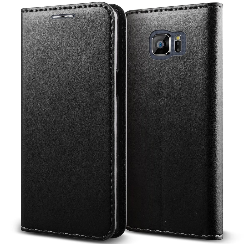 Samsung Galaxy S6 Edge Plus Case - Magnetic Black Genuine Leather Cover with Card Slots Slim Leather Wallet Case for Samsung Galaxy S6 Edge Plus [Folio Kickstand Case]- Black