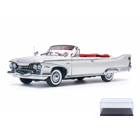 - Diecast Car & Display Case Package - 1960 Plymouth Fury, White w/ Red - Sun Star 5403W - 1/18 Scale Diecast Model Toy Car w/Display Case
