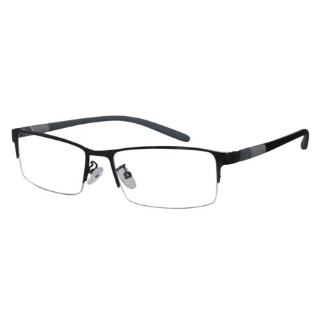 Ebe Reading Glasses Mens Womens Shield Half Rim Gun Stainless Steel Light Weight High Quality x2442