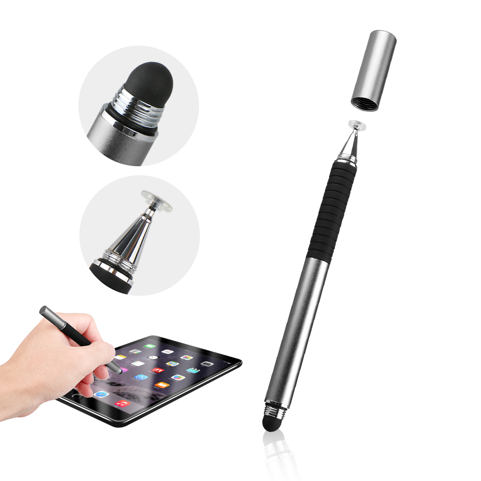 2 in 1 Luxury Fine Point Stylus Pen for Apple iPad Air, iPhone X 8,Samsung Galaxy Tablet, Kindle