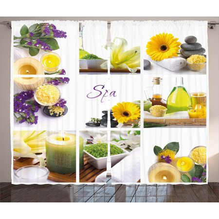 Spa Decor Curtains 2 Panels Set  Yellow Happy Peaceful Spa Day With Flowers Candles And Herbal Oils   Window Drapes For Living Room Bedroom  108W X 84L Inches  Yellow Purple And White  By Ambesonne