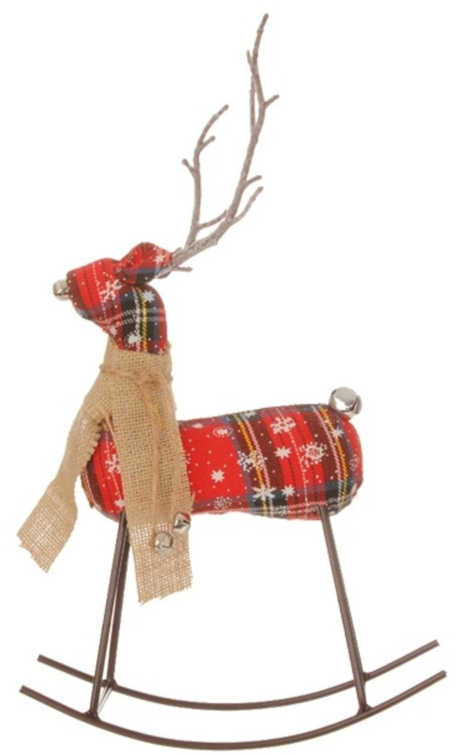 "12.5"" Country Cabin Plaid Rocking Reindeer Christmas Table Top Decoration"