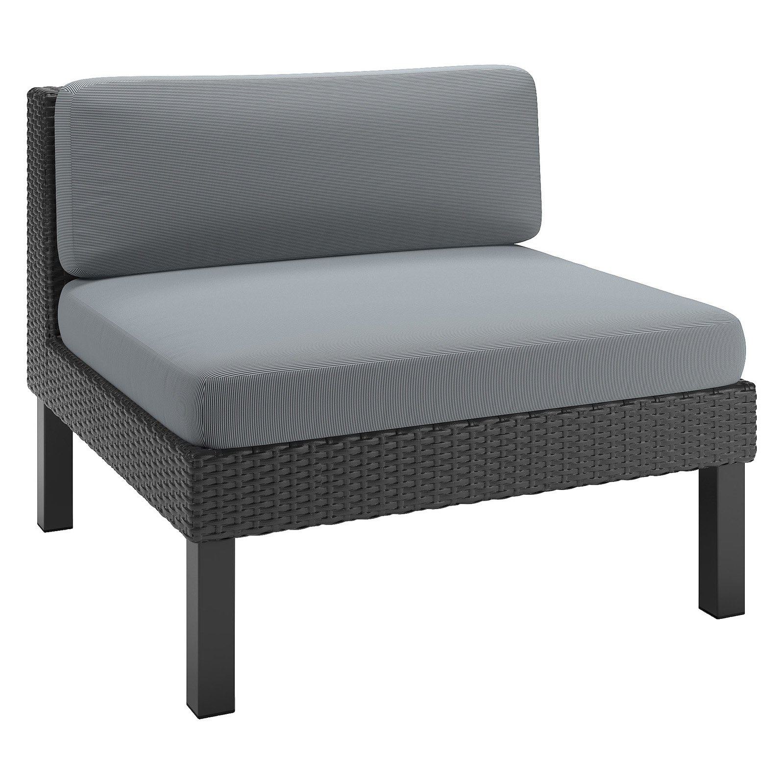 CorLiving Oakland Patio Middle Seat, Textured Black Weave