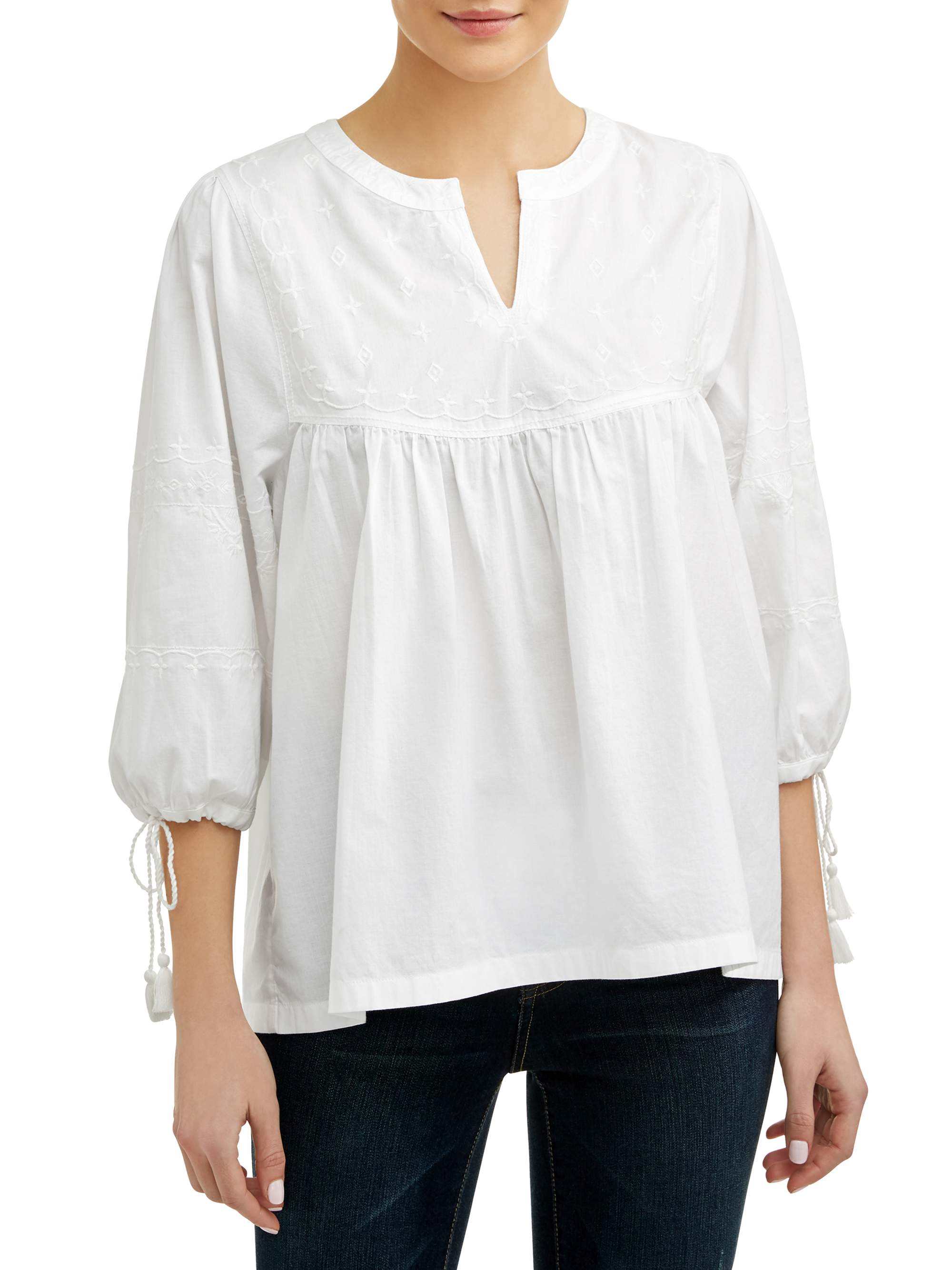 Women's Embroidered Neck Top
