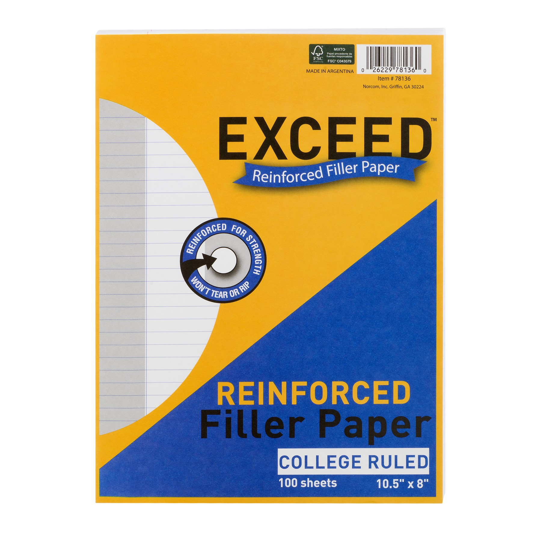 Exceed Reinforced Filler Paper College Ruled - 100 Sheets