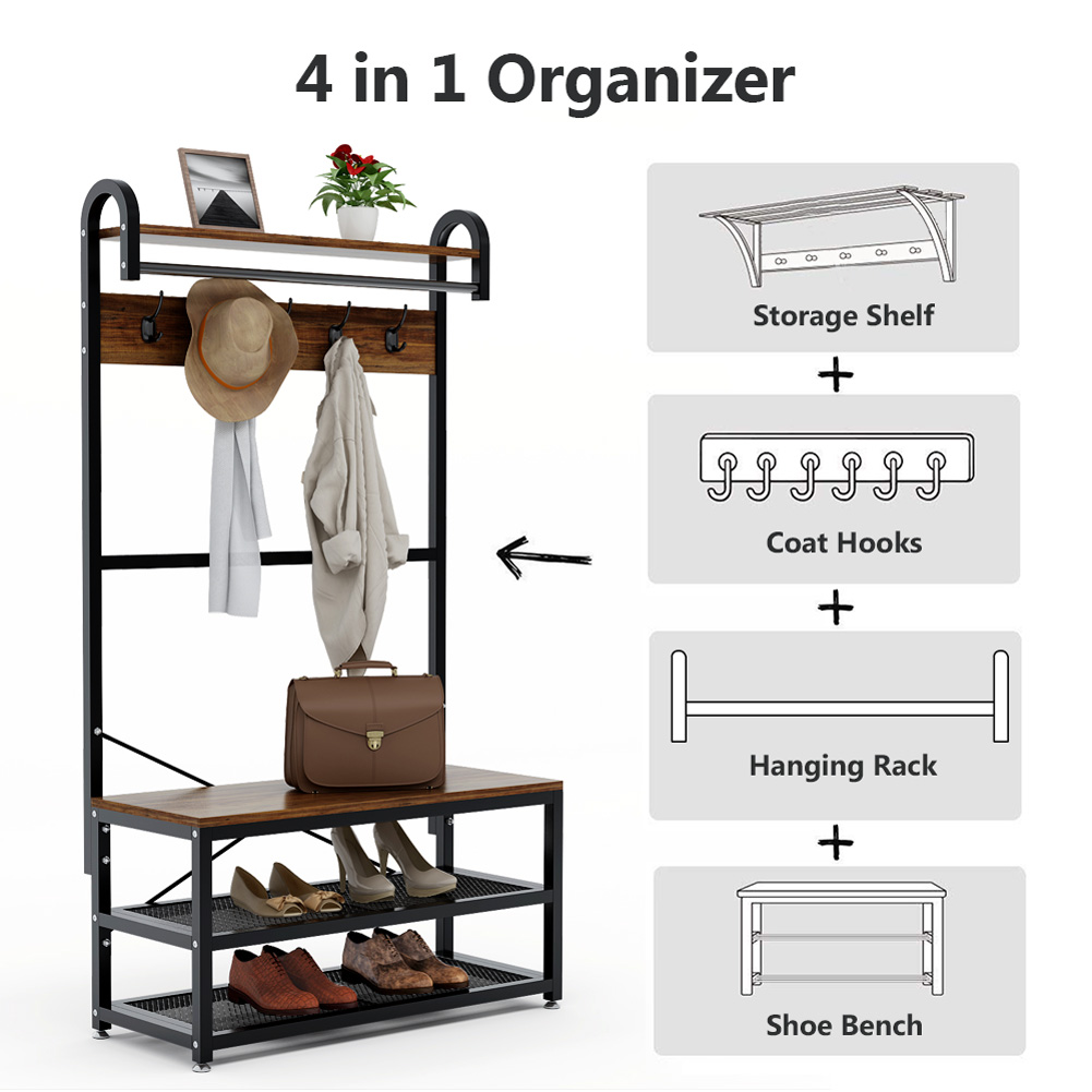 Tribesigns Vintage 4 in 1 Hall Tree with Storage Bench Coat Rack and Hanging Bar