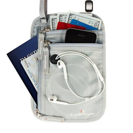 LS Lifestyle Premium Neck Wallet RFID Blocking Hidden Travel Pouch Passport Holder - Grey - Mens - One