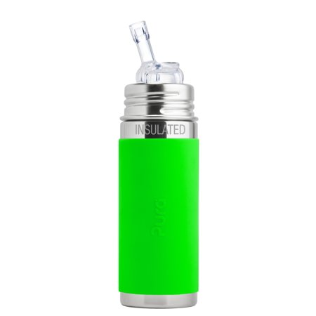 Pura Kiki 9 oz / 260 ml Stainless Steel Insulated Bottle with Silicone Straw & Sleeve, Green (Plastic Free, NonToxic Certified, BPA
