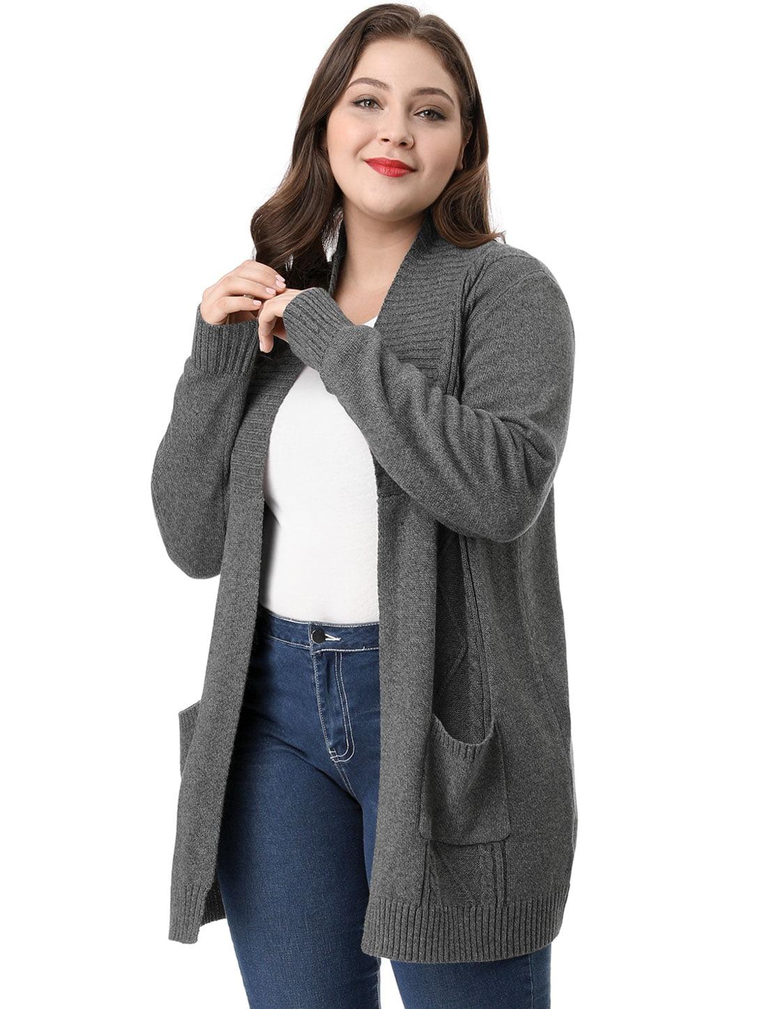 92982c107 Unique Bargains - Women s Plus Size Shawl Collar Open Front Sweater ...
