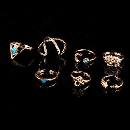 7 Pcs Women Stylish Bohemian Style Ring Retro Elegant Ring Ornament - image 5 of 7