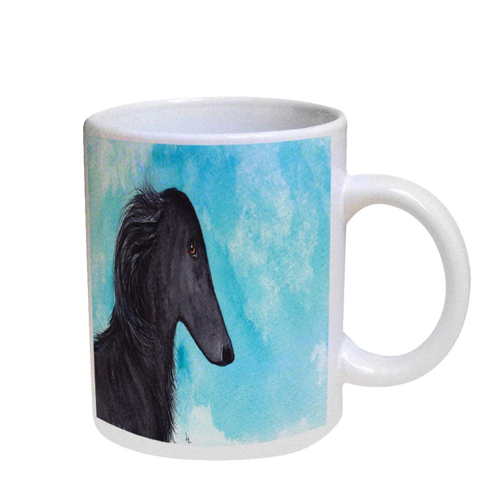 KuzmarK Coffee Cup Mug Pearl Iridescent White - Black Borzoi Sighthound Dog Art by Denise Every